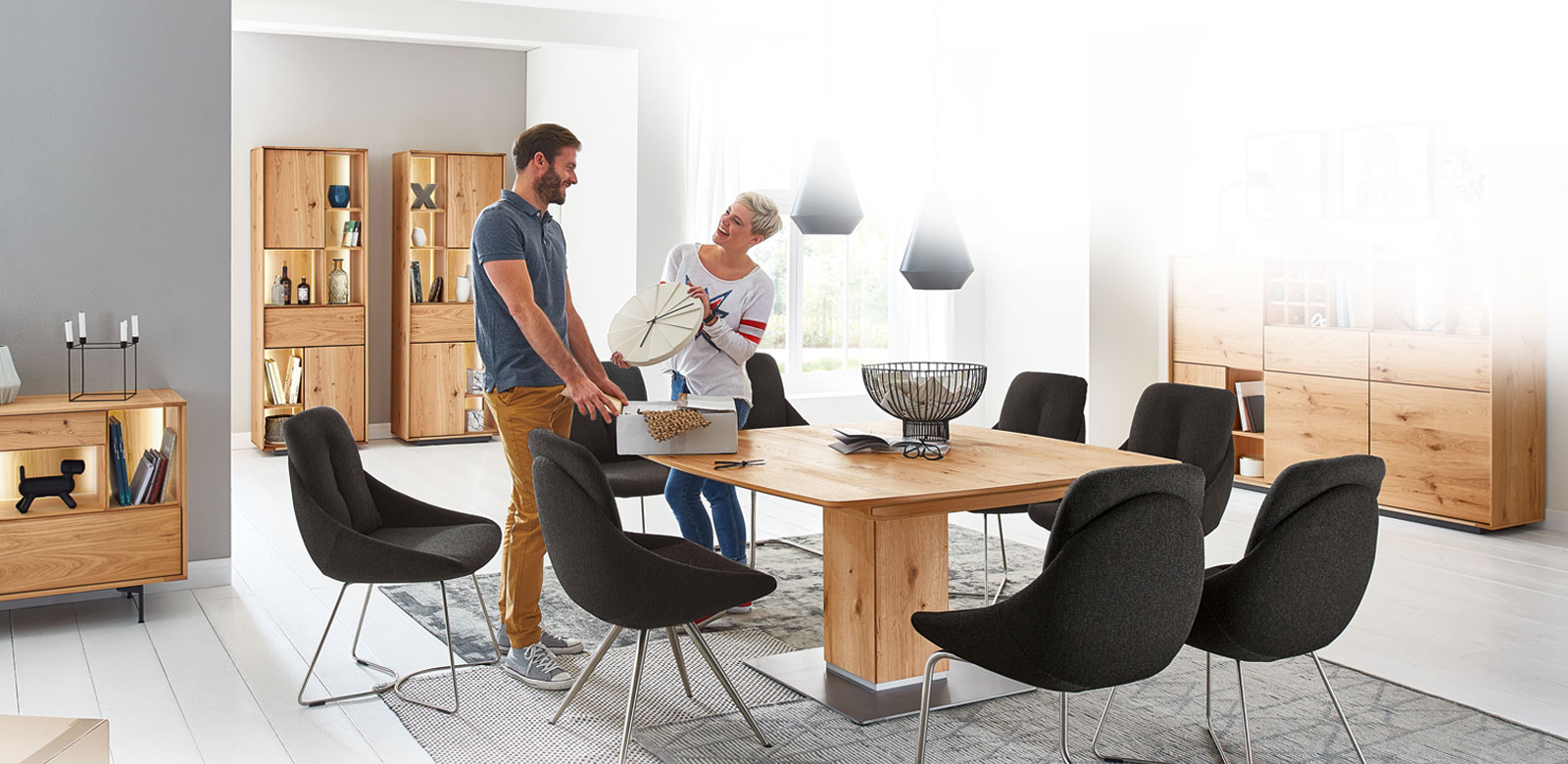 Clean design, real wood veneer and lacquer accents: the new range QUANTO